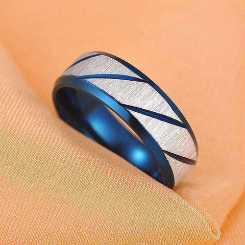 Feshionn IOBI Rings Blue Titanium Etched Men's Wedding Band Ring