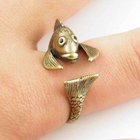Feshionn IOBI Rings Bronze Fish Friend Adjustable Animal Wrap Ring