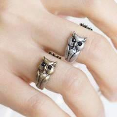 Feshionn IOBI Rings Bronze Owl Adjustable Animal Wrap Ring