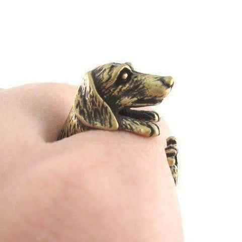 Feshionn IOBI Rings Bronze Puppy Love Dachshund Dog Adjustable Animal Wrap Ring