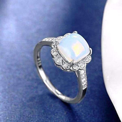 Feshionn IOBI Rings Cabochon White Opal Sterling Silver Ring