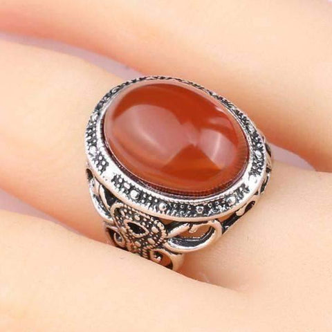 Feshionn IOBI Rings Carnelian Cabochon Silver Cocktail Ring