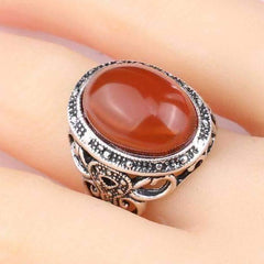 Carnelian Cabochon Silver Cocktail Ring