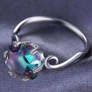 Feshionn IOBI Rings Carnivale 3.2CT Buff Top Crown Rainbow Fire Mystic Topaz IOBI Precious Gems Ring