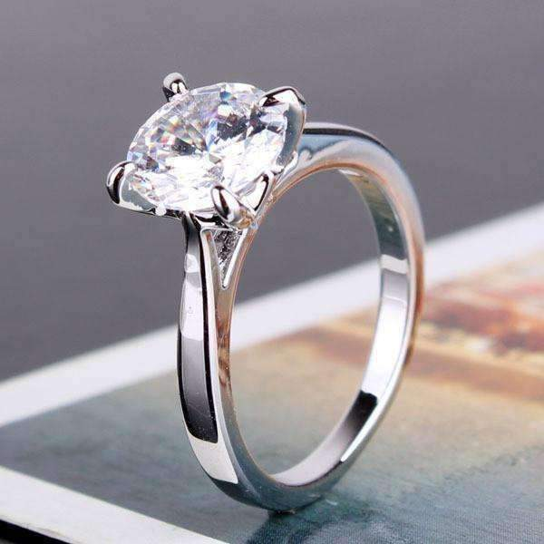 Cathedral Set CZ Solitaire Engagement Ring For Woman