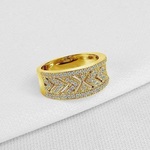 Feshionn IOBI Rings Charlize .38CT Pavé and Filigree 10K Solid Yellow Gold Band IOBI Cultured Diamond Ring