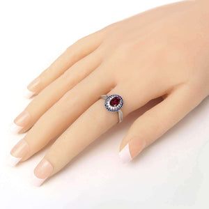Feshionn IOBI Rings Clarice 1.5CT Oval Cut Genuine Rhodolite Garnet IOBI Precious Gems Ring