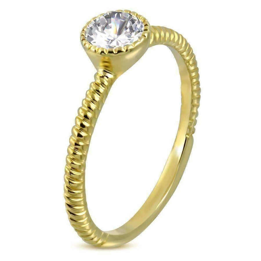 Feshionn IOBI Rings 5.5 / Yellow Gold CLEARANCE - Fairy Tale Twisted Rope Bezel Set IOBI Crystals Solitaire Ring