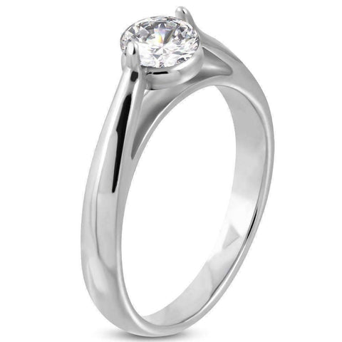 Feshionn IOBI Rings Contemporary Cathedral Set 1ct Round CZ Solitaire Engagement Ring in Stainless Steel - Ring