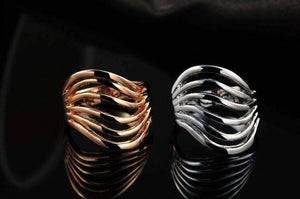 "Feshionn IOBI Rings ""Contour"" Six Line Ring in 18k Rose Gold or White Gold"