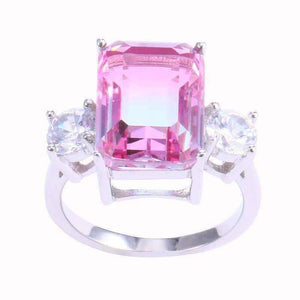 Feshionn IOBI Rings Cotton Candy Emerald Cut Simulated Tourmaline Ring