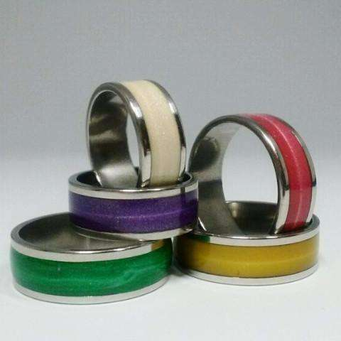 Glossy Colored Enamel Band Ring 5mm For Woman 5 Fabulous Colors to Choose