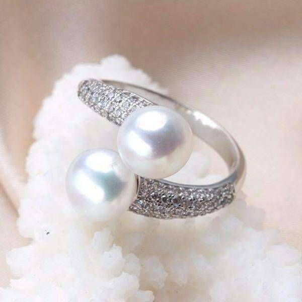 Feshionn IOBI Rings Creamy White Genuine Freshwater Pearl Adjustable Ring