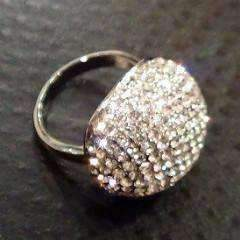 Feshionn IOBI Rings 8 Crystal Mushroom Pavé CZ Oversize Dome Cocktail Ring