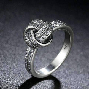 Feshionn IOBI Rings CZ Accented Sterling Silver Love Knot Ring