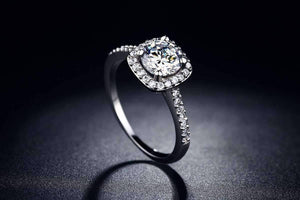 Feshionn IOBI Rings Dazzling Halo 2 CT Cushion Cut Simulated Diamond Ring