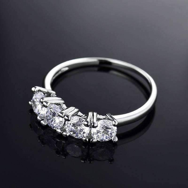 Feshionn IOBI Rings 5 / White Gold Devotion Four Stone 1ct CZ Anniversary Band Ring