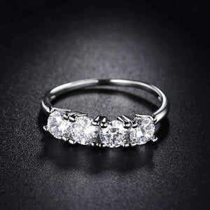 Feshionn IOBI Rings Devotion Four Stone 1ct CZ Anniversary Band Ring