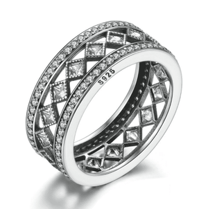 Feshionn IOBI Rings Diamond Harlequin Pattern CZ Sterling Silver Eternity Band Ring