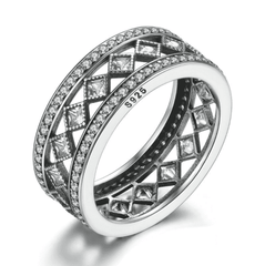 ON SALE - Diamond Harlequin Pattern CZ Sterling Silver Eternity Band Ring