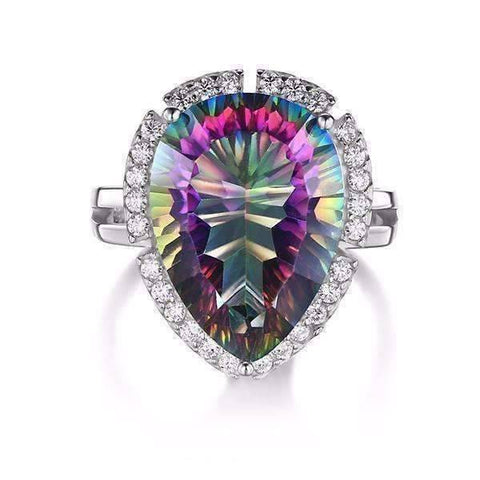 Feshionn IOBI Rings Eden Genuine Rainbow Fire Mystic Topaz 13CT IOBI Precious Gems Ring