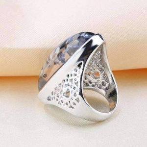 Feshionn IOBI Rings Elongated Abalone Cabochon Heart Cut-Out Silver Ring