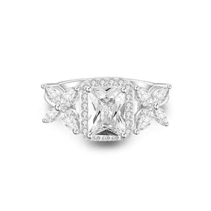 Feshionn IOBI Rings Emerald Cut Butterfly Accented Cubic Zirconia Ring