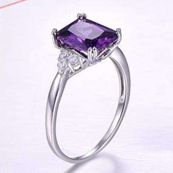 Feshionn IOBI Rings 5.5 Emerald Cut Genuine Amethyst 5.25CT IOBI Precious Gems Ring