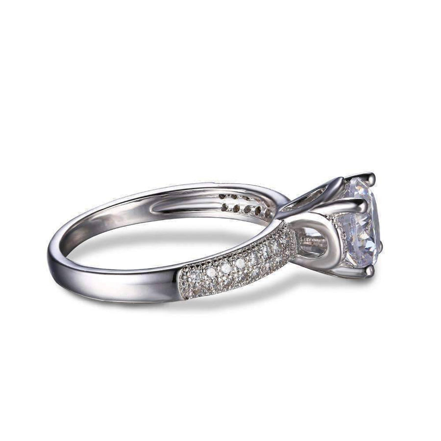 Feshionn IOBI Rings 6 Euphoria High Mount Cathedral Cubic Zirconia and Pavé Solitaire Ring