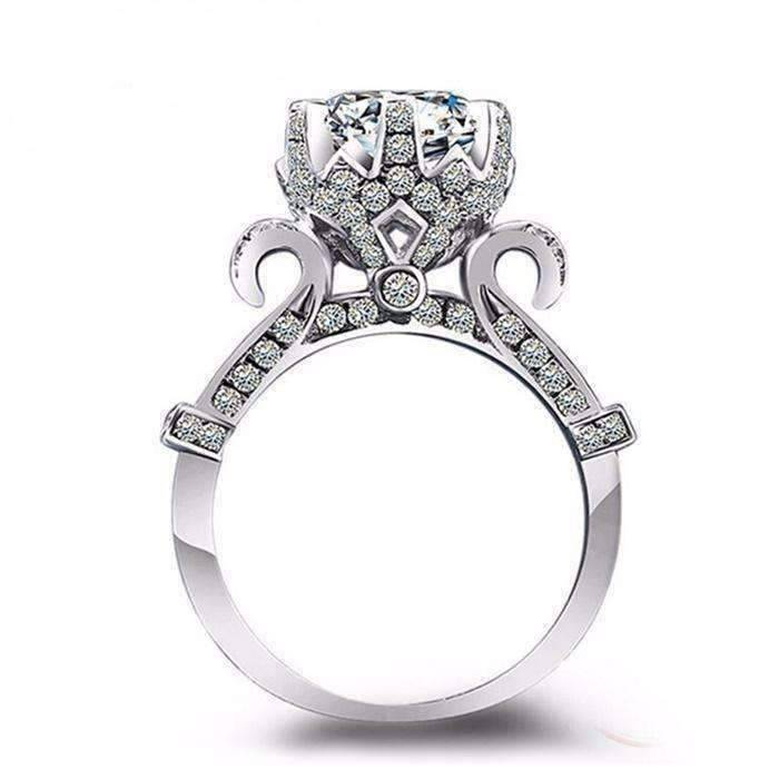 Feshionn IOBI Rings Extravagant Crown Set CZ Solitaire Engagement Ring
