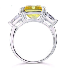 Fancy Canary 8CT Princess Cut Three Stone Cocktail Ring