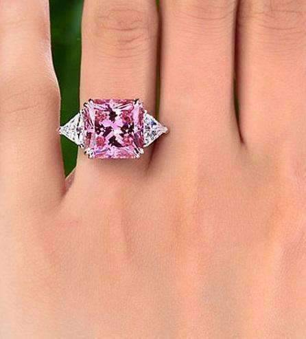 ed6c510cea5de ON SALE - Fancy Pink 8CT Princess Cut Three Stone Cocktail Ring ...