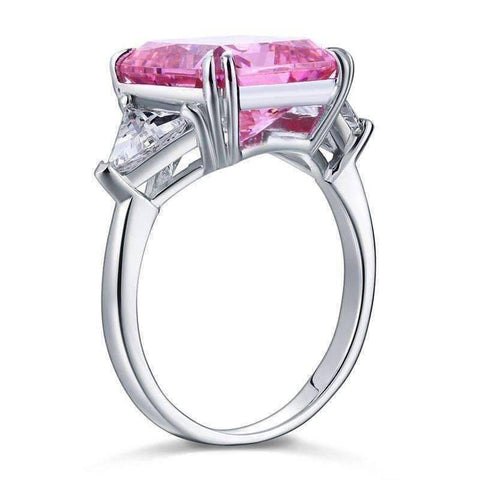 Feshionn IOBI Rings Fancy Pink 8CT Princess Cut Three Stone Ring