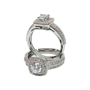 Feshionn IOBI Rings Felicity 1CT Round Cut Pavé and Milgrain Halo IOBI Cultured Diamond Ring