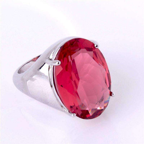 Feshionn IOBI Rings Flamingo Kisses 15ct Pink Oval Cut Austrian Crystal White Gold Plated Cocktail Ring