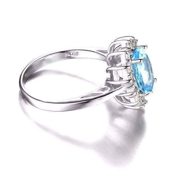 Feshionn IOBI Rings 6 / Ice Blue Halo Ring French Blue Halo 2.5CT Genuine Topaz IOBI Precious Gems Ring