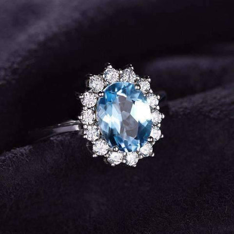 Feshionn IOBI Rings French Blue Halo 2.5CT Genuine Topaz IOBI Precious Gems Ring