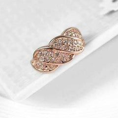 CLEARANCE - French Twist Pavé Cocktail Ring in 18k Rose Gold or White Gold