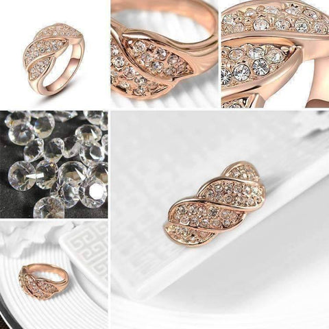 Feshionn IOBI Rings French Twist Pavé Crystal Ring in 18k Rose Gold or White Gold