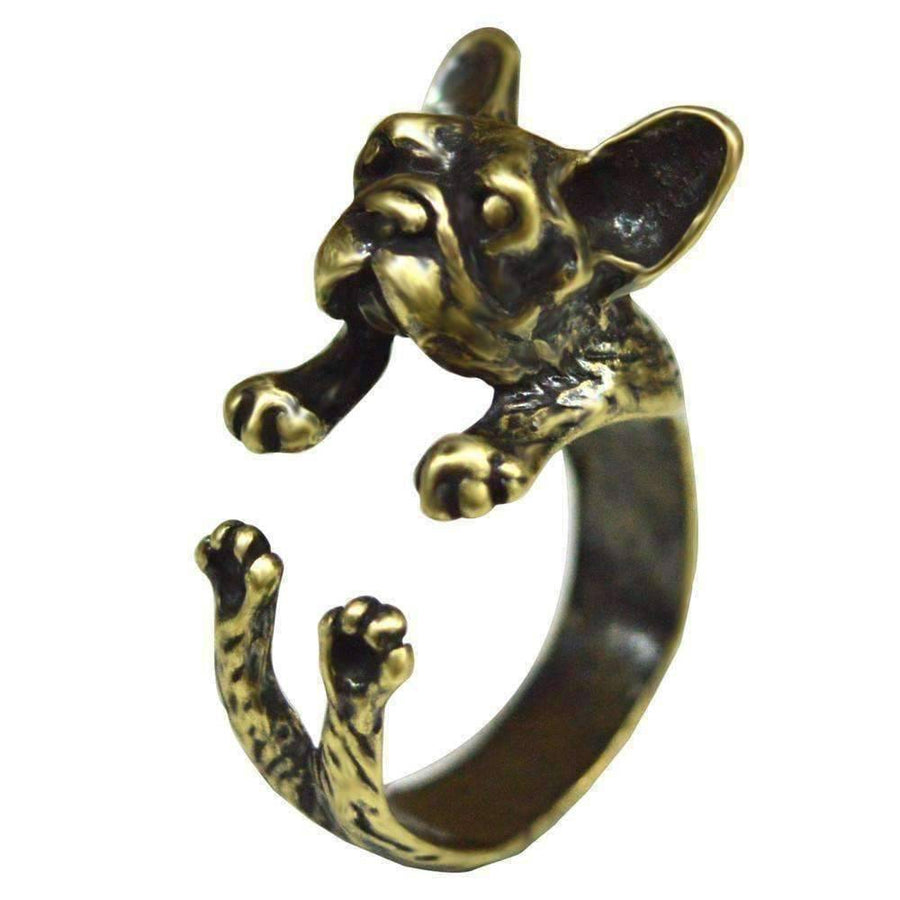 Feshionn IOBI Rings Bronze Frenchy French Bulldog Adjustable Animal Wrap Ring