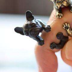 Feshionn IOBI Rings Frenchy French Bulldog Adjustable Animal Wrap Ring