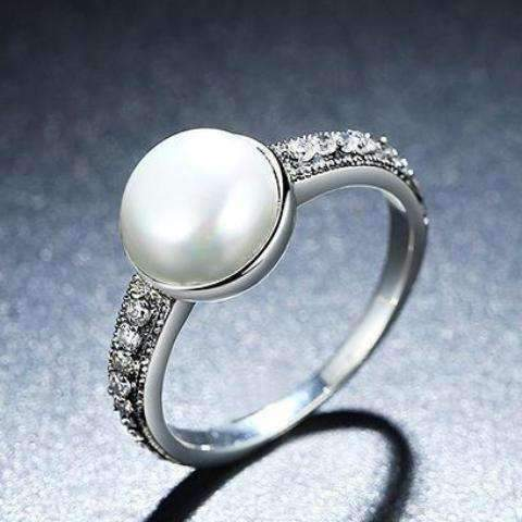 Feshionn IOBI Rings Freshwater Pearl and CZ Sterling Silver Ring