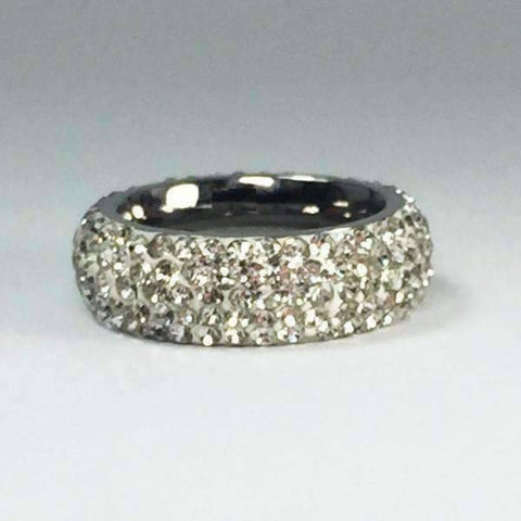 Feshionn IOBI Rings Glitzy 5 Row Pavé Set IOBI Crystals Stainless Steel Eternity Ring