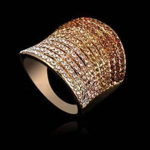 Feshionn IOBI Rings Gold Gradient Austrian Crystal 18K Rose Gold Plated Cocktail Ring