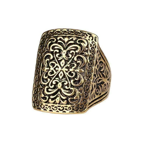 Feshionn IOBI Rings Gold Tone / 6.75 Medieval Era Patina Etched Cocktail Ring