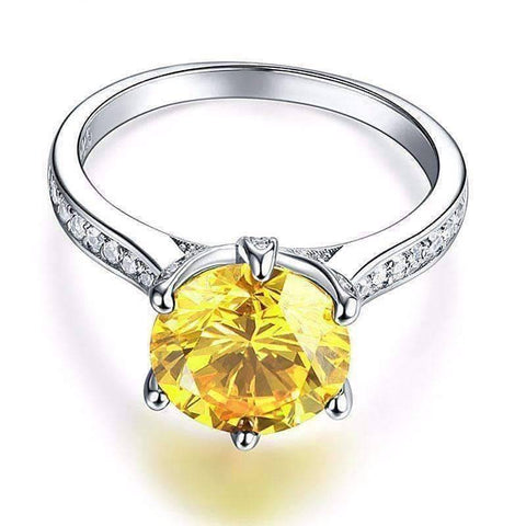 Feshionn IOBI Rings Grande Canary 3CT Simulated Yellow Sapphire Triple Pavé Trellis Solitaire Ring