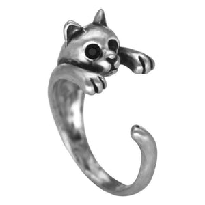 Feshionn IOBI Rings Gun Metal Purr-fect Kitten Adjustable Animal Wrap Ring