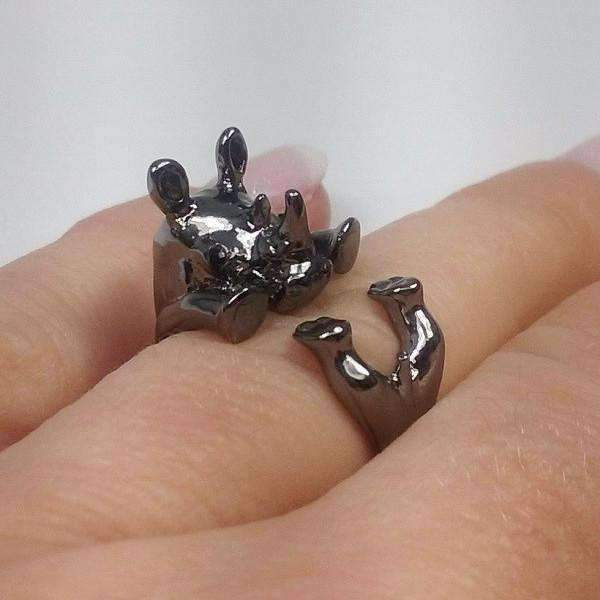 Feshionn IOBI Rings Gun Metal Safari Friends Baby Rhinocerous Adjustable Animal Wrap Ring