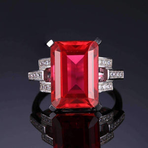 Feshionn IOBI Rings Heirloom 9CT Emerald Cut Simulated Pigeon Blood Ruby IOBI Precious Gems Ring