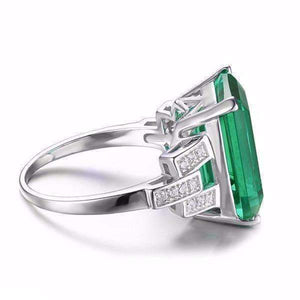 Feshionn IOBI Rings Heritage 9CT Emerald Cut Simulated Russian Emerald IOBI Precious Gems Ring
